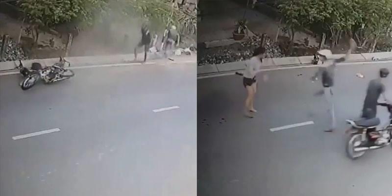 Cô gái Bình Thuận phóng xe truy đuổi và tông ngã hai tên cướp túi xách