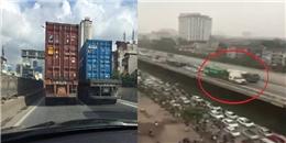 Hà Nội: Hai xe container dàn hàng ngang, chạy rùa bò khiến giao thông tê liệt