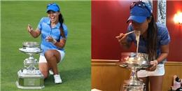 Lần đầu tiên vô địch, nữ golf thủ dùng cup làm tô đựng phở ăn mừng