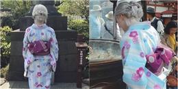 Bất ngờ nhan sắc thật của cô gái tóc bạch kim mặc kimono