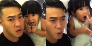 Chết cười với clip ông bố cùng con gái diễn hài siêu đáng yêu