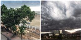 Xuất hiện đám mây xám xịt to đùng bao phủ bầu trời Lào Cai