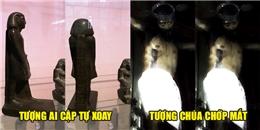 Camera ghi lại cảnh những bức tượng tự chuyển động khiến nhiều người sửng sốt