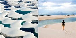 Sa mạc khô cằn 'lột xác' thành cả nghìn hồ nước xanh lam ngọc