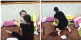 Hà Nội: Xem camera, hốt hoảng phát hiện giúp việc đánh đập, quăng quật con mình dã man