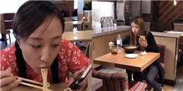 Cười nín thở với cái kết của các cô nàng cứ thích vừa ăn mỳ vừa chơi điện thoại,