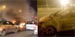 Clip xế hộp bốc cháy ngùn ngụt trên cầu Thanh Trì, lái xe chỉ biết bất lực đứng nhìn