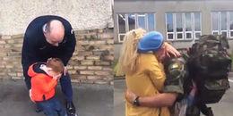 Cảm động hình ảnh bé trai oà khóc nức nở khi đón bố trở về từ chiến trường