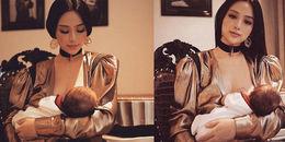 Hình ảnh Huyền Baby cho em bé bú mẹ cũng vô cùng sang chảnh