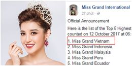 HOT: Huyền My xuất sắc vươn lên dẫn đầu bình chọn tại Miss Grand International 2017