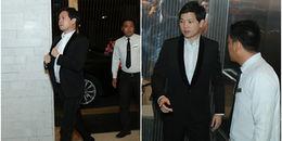 Chú rể Trung Tín diện vest lịch lãm xuất hiện tại tiệc cưới sát giờ làm lễ