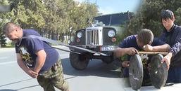 Kinh ngạc xem người đàn ông khỏe 'vô địch thiên hạ' kéo xe tải bằng răng