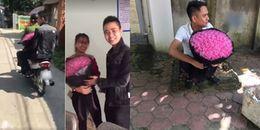 Bị bắt xe ngày 20/10 vì vi phạm giao thông, chàng trai nhờ luôn công an chở đi tặng hoa cho vợ