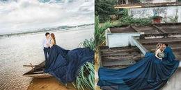 Bất chấp nước lũ dâng cao, cặp đôi tại Ninh Bình 'bay thẳng' lên nóc nhà để chụp ảnh cưới