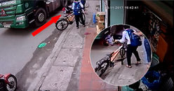 Thoát chết trong gang tấc: Cậu bé ngã giữa đường, suýt bị xe kéo container cán qua đầu