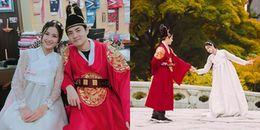 Đông Nhi - Ông Cao Thắng diện Hanbok cực yêu, quấn quýt không rời ở Hàn