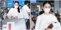 Á hậu Thùy Dung bịt khẩu trang kín mít, lặng lẽ về nước sau Chung kếtMiss International 2017