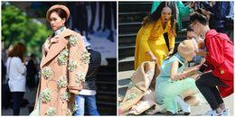 Mải tạo dáng trên đôi giày quá cao, MC Vietnam International Fashion Week 2017 bất ngờ bị té ngã