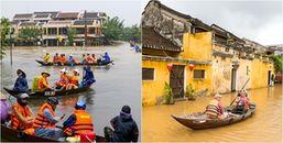 Hậu bão số 12: Quảng Nam ngập trong biển nước, khách du lịch chèo thuyền di chuyển tại phố cổ Hội An