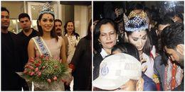 Tân Hoa hậu thế giới 2017 gây tắc nghẽn sân bay khi vừa về đến Ấn Độ