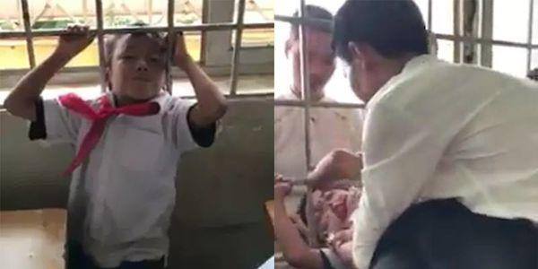 30 phút căng thẳng của hầy giáo soái ca giải cứu học trò nghịch ngợm kẹt đầu vào song cửa sổ