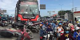 Xe khách tông hàng loạt gần 10 xe máy, nhiều người bị thương, Quốc lộ 1 ùn ứ