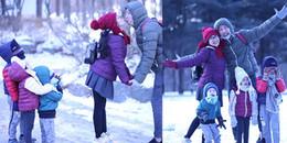Ốc Thanh Vân hôn ông xã trước mặt 3 con giữa tiết trời lạnh giá ở Hàn Quốc