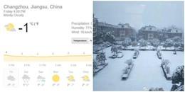 Vào lúc này, cảnh tuyết rơi trắng xoá và lạnh cóng tại Thường Châu - nơi U23 Việt Nam đá chung kết