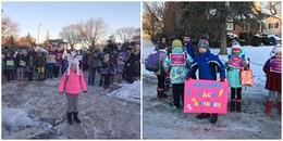 Cảm động hình ảnh cả trường chào đón cô bé ung thư quay lại lớp học dưới cái lạnh 4 độ C