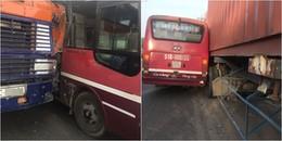 Tài xế xe buýt truy đuổi xe container bỏ chạy trên quốc lộ vì không thoả thuận được bồi thường