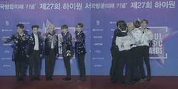 Super Junior gây sốt khi 'lầy lội' cởi áo tập thể khoác cho MC giữa thời tiết lạnh cóng ở SMA 2018