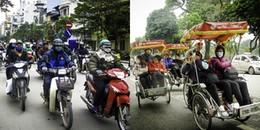 Người Hà Nội co ro trong ngày lạnh kỉ lục trong năm, thậm chí còn phải mặc áo mưa để tránh gió
