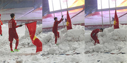 Duy Mạnh lần đầu trải lòng về hành động cắm cờ lên tuyết sau trận chung kết