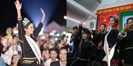 Lần đầu tiên về buôn thăm nhà, Hoa hậu H'Hen Niê khiến các vệ sĩ làm việc 'mệt nghỉ'