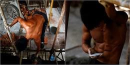Góc quyến rũ: Chàng thợ xây gây sốt với thân hình 6 múi nhờ chăm chỉ tập gym tại công trường