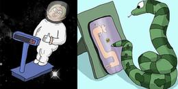 Nếu IQ đủ cao, bạn sẽ thấm được sự hài hước và châm biếm sâu cay của loạt tranh này