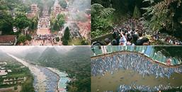 'Bay từ trên cao' ngắm khung cảnh hoàn toàn khác lạ khi hàng nghìn người kéo về dự lễ Chùa Hương
