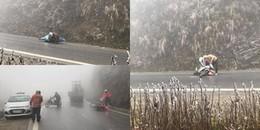 Băng phủ kín đèo Ô Quy Hồ, hàng loạt phương tiện trượt ngã, xe xoay ngang không thể di chuyển