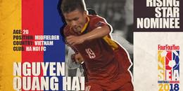 Quang Hải được đề cử ở hạng mục 'Cầu thủ trẻ hay nhất ĐNÁ'