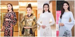 Dàn Hoa hậu, Á hậu diện áo dài hội ngộ tại họp báo Hoa hậu Việt Nam 2018