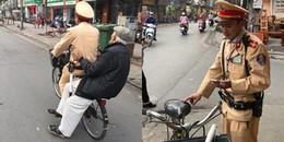 Hà Nội: Hình ảnh đáng yêu về anh CSGT đạp xe, đưa cụ ông 88 tuổi trí nhớ kém đi lạc về nhà