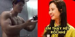Quen nhau nhiều năm, Song Ji Hyo vẫn đỏ mặt và cười tít mắt khi thấy Kim Jong Kook tắm thế này đây