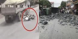 Tránh 2 cô gái tự ngã xe giữa đường, xe tải đâm vào ô tô con gây ra tại nạn đáng tiếc