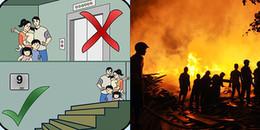 Hỏa hoạn ở chung cư: Che mặt bằng mọi thứ có thể và tuyệt đối không dùng thang máy