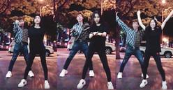 Hòa Minzy rủ Erik cover điệu nhảy 'tăng động' BBoom BBoom của Momoland giữa phố