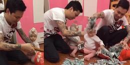 Ông bố xăm trổ đập heo đất để dành 5 năm lấy ra hàng trăm triệu mừng sinh nhật con gái gây tranh cãi
