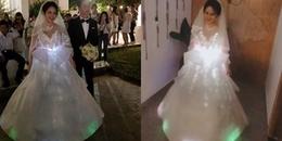 """Cô dâu Bến Tre """"chịu chơi"""" tự làm váy cưới phát sáng trị giá 200 triệu"""