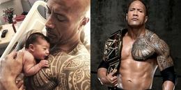 """Bức ảnh """"gã khổng lồ"""" Dwayne Johnson bế con gái sơ sinh bé tí hin trên tay gây sốt MXH"""