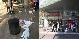 Sau đêm xếp hàng mua giày, tòa nhà Bitexco ngập trong rác