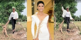 yan.vn - tin sao, ngôi sao - Hoa hậu H\'Hen Nie vừa đội bao gạo, vừa phô diễn trình độ catwalk
